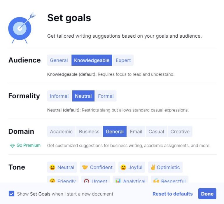 Grammarly Review setting Goals